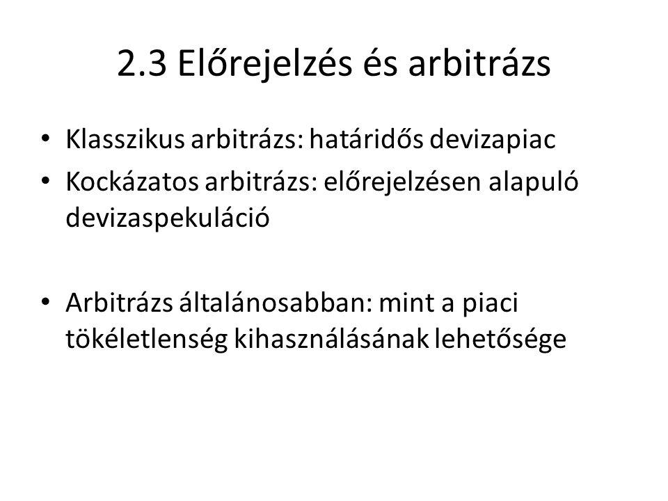 2.3 Előrejelzés és arbitrázs Klasszikus arbitrázs: határidős devizapiac Kockázatos arbitrázs: előrejelzésen alapuló devizaspekuláció Arbitrázs általánosabban: mint a piaci tökéletlenség kihasználásának lehetősége