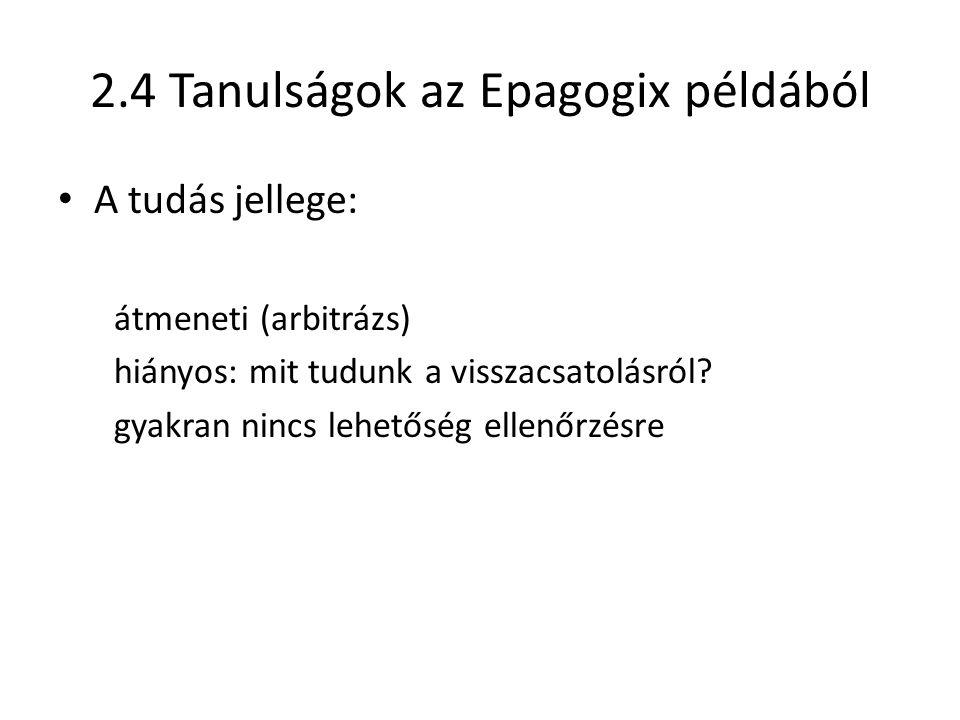 2.4 Tanulságok az Epagogix példából A tudás jellege: átmeneti (arbitrázs) hiányos: mit tudunk a visszacsatolásról.