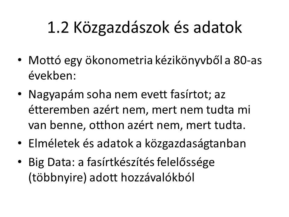 1.2 Közgazdászok és adatok Mottó egy ökonometria kézikönyvből a 80-as években: Nagyapám soha nem evett fasírtot; az étteremben azért nem, mert nem tudta mi van benne, otthon azért nem, mert tudta.