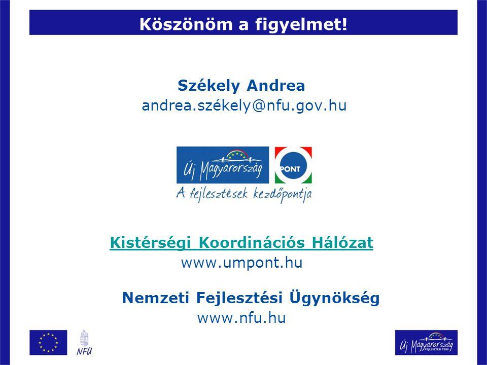 Székely Andrea andrea.székely@nfu.gov.hu Kistérségi Koordinációs Hálózat www.umpont.hu Nemzeti Fejlesztési Ügynökség www.nfu.hu Köszönöm a figyelmet!