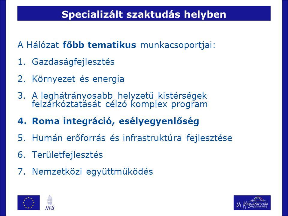 Specializált szaktudás helyben A Hálózat főbb tematikus munkacsoportjai: 1.Gazdaságfejlesztés 2.Környezet és energia 3.A leghátrányosabb helyzetű kistérségek felzárkóztatását célzó komplex program 4.Roma integráció, esélyegyenlőség 5.Humán erőforrás és infrastruktúra fejlesztése 6.Területfejlesztés 7.Nemzetközi együttműködés