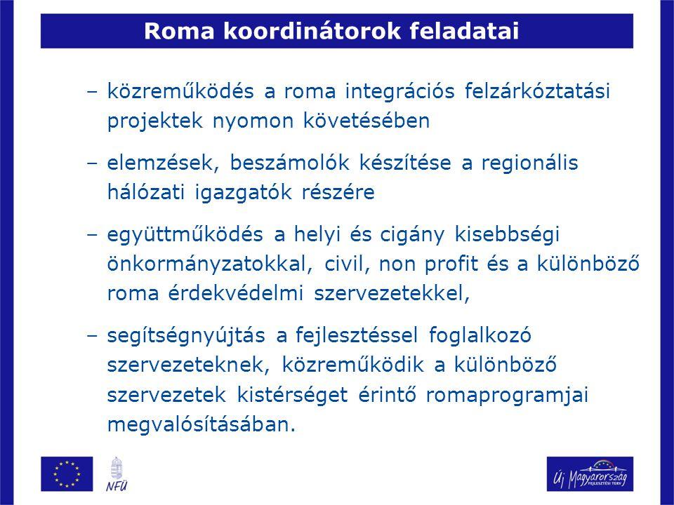 –közreműködés a roma integrációs felzárkóztatási projektek nyomon követésében –elemzések, beszámolók készítése a regionális hálózati igazgatók részére –együttműködés a helyi és cigány kisebbségi önkormányzatokkal, civil, non profit és a különböző roma érdekvédelmi szervezetekkel, –segítségnyújtás a fejlesztéssel foglalkozó szervezeteknek, közreműködik a különböző szervezetek kistérséget érintő romaprogramjai megvalósításában.
