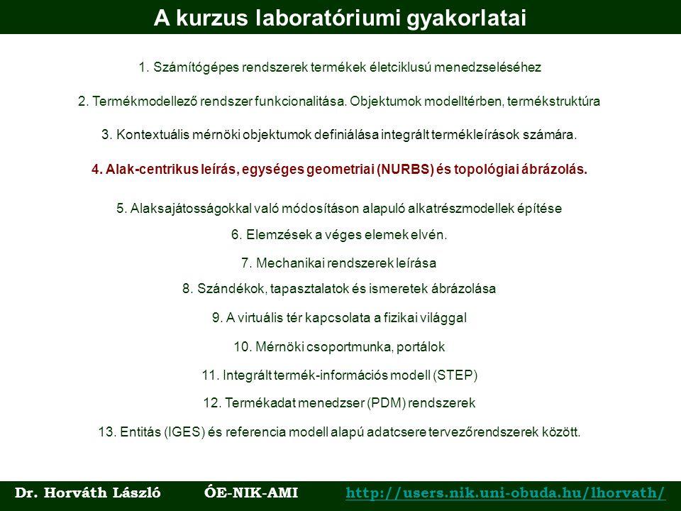 A kurzus laboratóriumi gyakorlatai 1. Számítógépes rendszerek termékek életciklusú menedzseléséhez 3. Kontextuális mérnöki objektumok definiálása inte