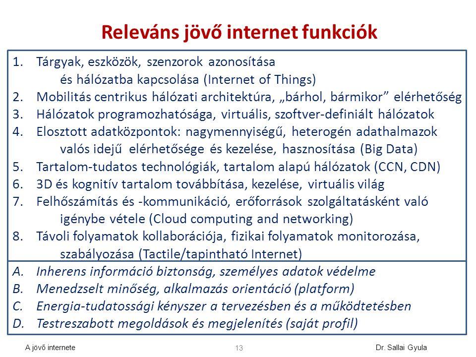 13 Releváns jövő internet funkciók 1.Tárgyak, eszközök, szenzorok azonosítása és hálózatba kapcsolása (Internet of Things) 2.Mobilitás centrikus hálóz