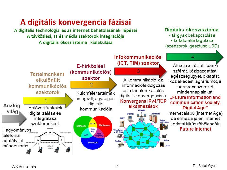 """13 Releváns jövő internet funkciók 1.Tárgyak, eszközök, szenzorok azonosítása és hálózatba kapcsolása (Internet of Things) 2.Mobilitás centrikus hálózati architektúra, """"bárhol, bármikor elérhetőség 3.Hálózatok programozhatósága, virtuális, szoftver-definiált hálózatok 4.Elosztott adatközpontok: nagymennyiségű, heterogén adathalmazok valós idejű elérhetősége és kezelése, hasznosítása (Big Data) 5.Tartalom-tudatos technológiák, tartalom alapú hálózatok (CCN, CDN) 6.3D és kognitív tartalom továbbítása, kezelése, virtuális világ 7.Felhőszámítás és -kommunikáció, erőforrások szolgáltatásként való igénybe vétele (Cloud computing and networking) 8.Távoli folyamatok kollaborációja, fizikai folyamatok monitorozása, szabályozása (Tactile/tapintható Internet) A.Inherens információ biztonság, személyes adatok védelme B.Menedzselt minőség, alkalmazás orientáció (platform) C.Energia-tudatossági kényszer a tervezésben és a működtetésben D.Testreszabott megoldások és megjelenítés (saját profil) Dr."""