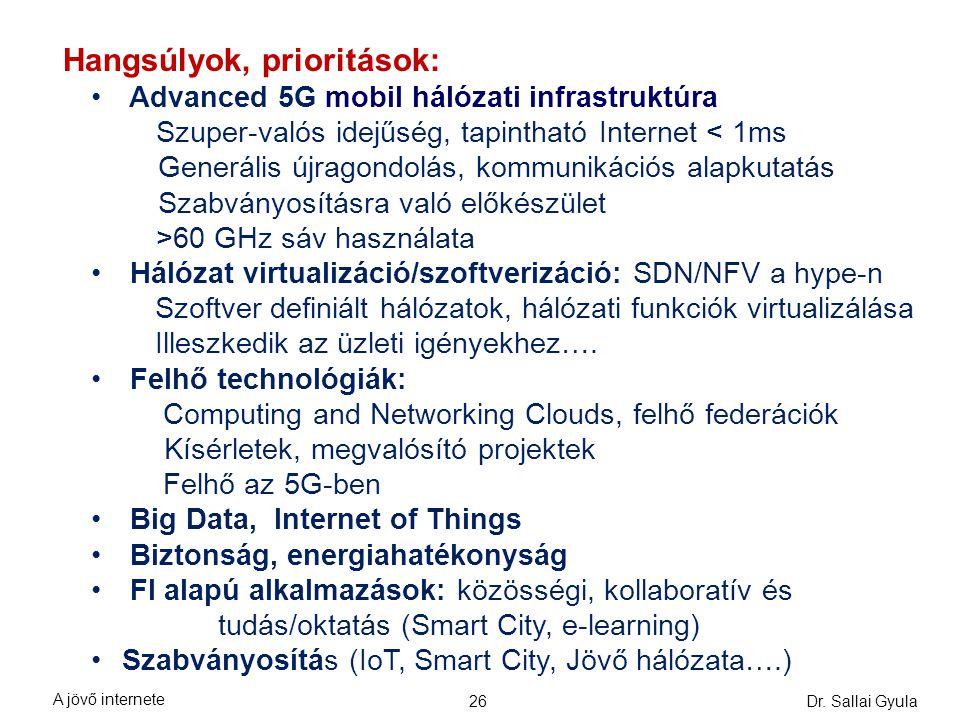 Hangsúlyok, prioritások: Advanced 5G mobil hálózati infrastruktúra Szuper-valós idejűség, tapintható Internet < 1ms Generális újragondolás, kommunikác