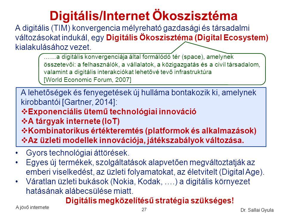 Dr. Sallai Gyula 27 Digitális/Internet Ökoszisztéma A digitális (TIM) konvergencia mélyreható gazdasági és társadalmi változásokat indukál, egy Digitá