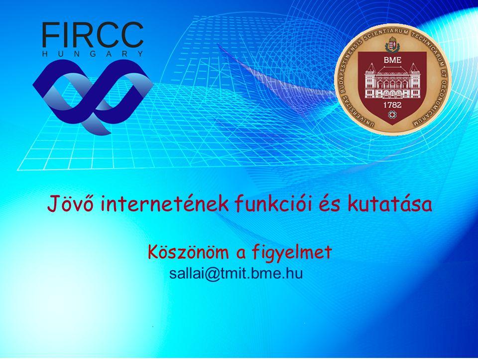 Jövő internetének funkciói és kutatása Köszönöm a figyelmet sallai@tmit.bme.hu