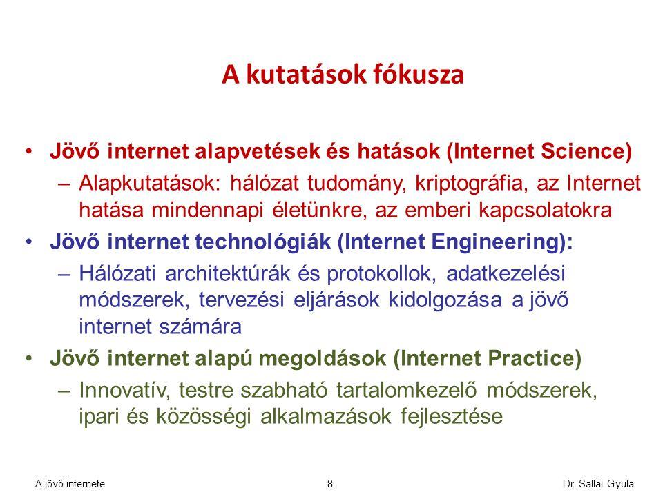Dr. Sallai Gyula8 A kutatások fókusza Jövő internet alapvetések és hatások (Internet Science) –Alapkutatások: hálózat tudomány, kriptográfia, az Inter