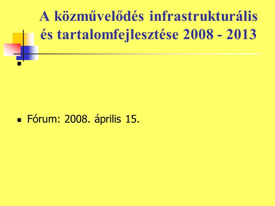A közművelődés infrastrukturális és tartalomfejlesztése 2008 - 2013 Fórum: 2008. április 15.