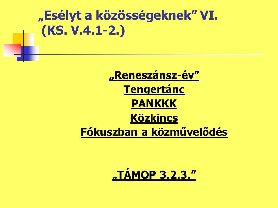 """""""Reneszánsz-év Tengertánc PANKKK Közkincs Fókuszban a közművelődés """"TÁMOP 3.2.3. """"Esélyt a közösségeknek VI."""