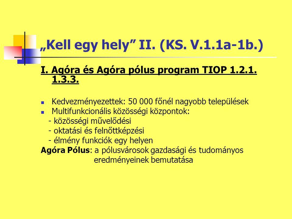 """""""Kell egy hely II. (KS. V.1.1a-1b.) I. Agóra és Agóra pólus program TIOP 1.2.1."""