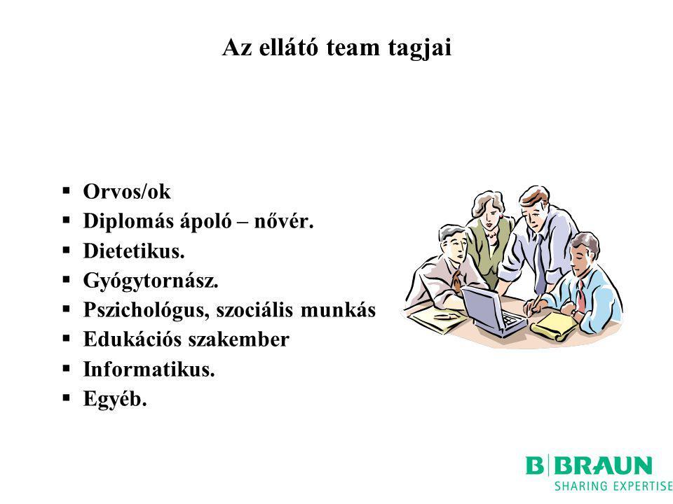 Az ellátó team tagjai  Orvos/ok  Diplomás ápoló – nővér.  Dietetikus.  Gyógytornász.  Pszichológus, szociális munkás  Edukációs szakember  Info