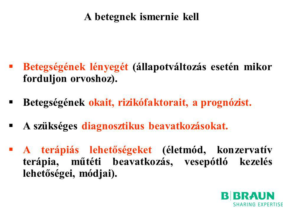 A betegnek ismernie kell  Betegségének lényegét (állapotváltozás esetén mikor forduljon orvoshoz).  Betegségének okait, rizikófaktorait, a prognózis