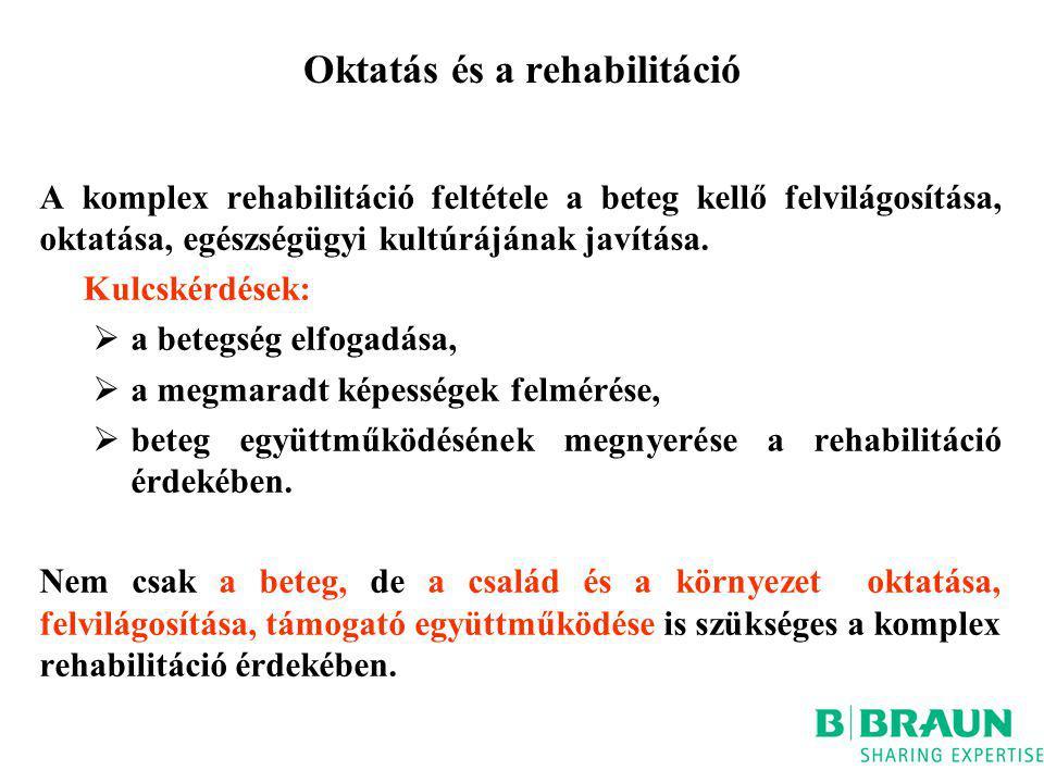 Oktatás és a rehabilitáció A komplex rehabilitáció feltétele a beteg kellő felvilágosítása, oktatása, egészségügyi kultúrájának javítása. Kulcskérdése