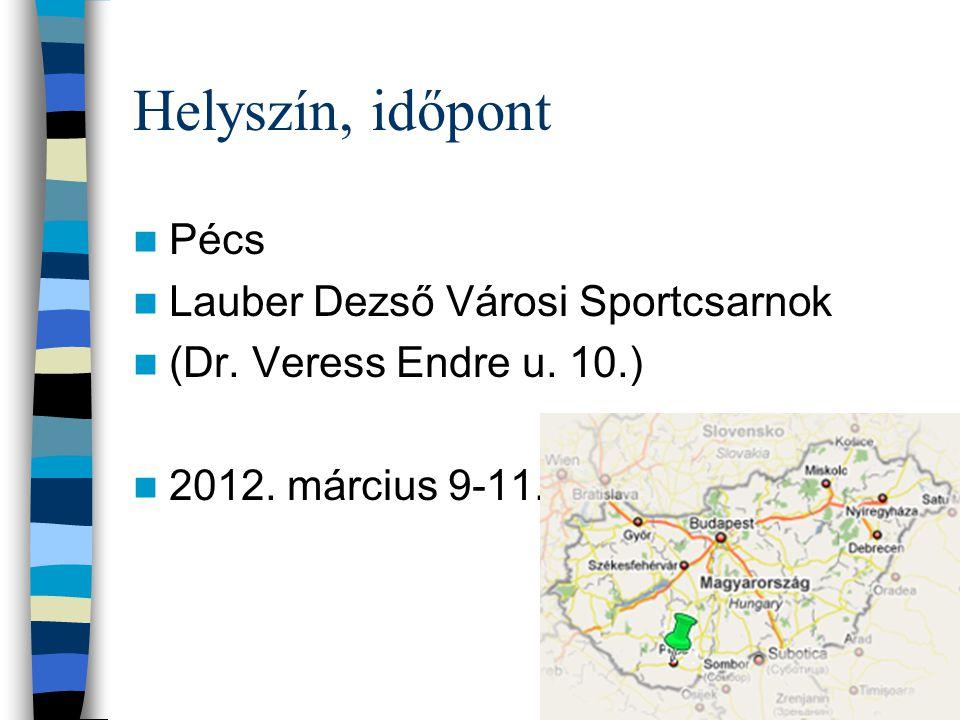 Helyszín, időpont Pécs Lauber Dezső Városi Sportcsarnok (Dr.