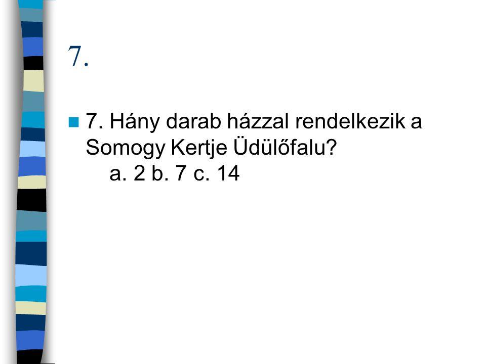 7. 7. Hány darab házzal rendelkezik a Somogy Kertje Üdülőfalu a. 2 b. 7 c. 14