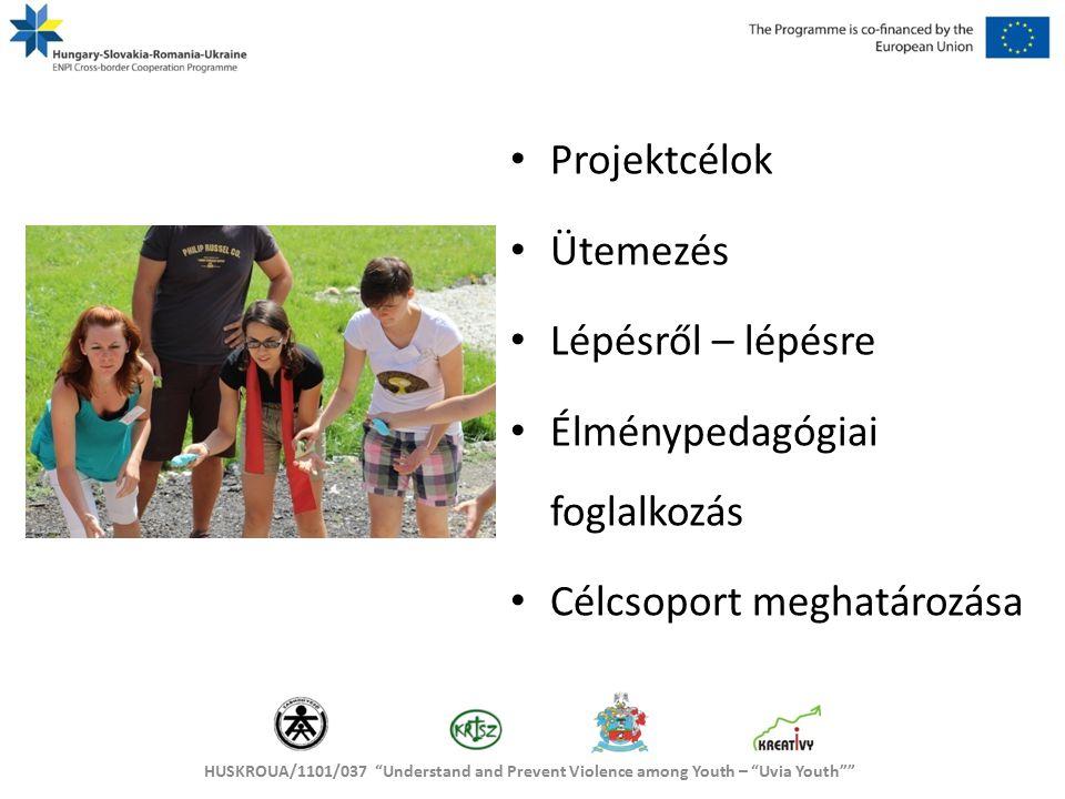 HUSKROUA/1101/037 Understand and Prevent Violence among Youth – Uvia Youth A célcsoport főbb jellemzői Létszáma Életkora, szórása Szociális fejlettsége Elkötelezettsége, tapasztalatai Fizikai állapota Mentális állapota Egyéb tudnivalók