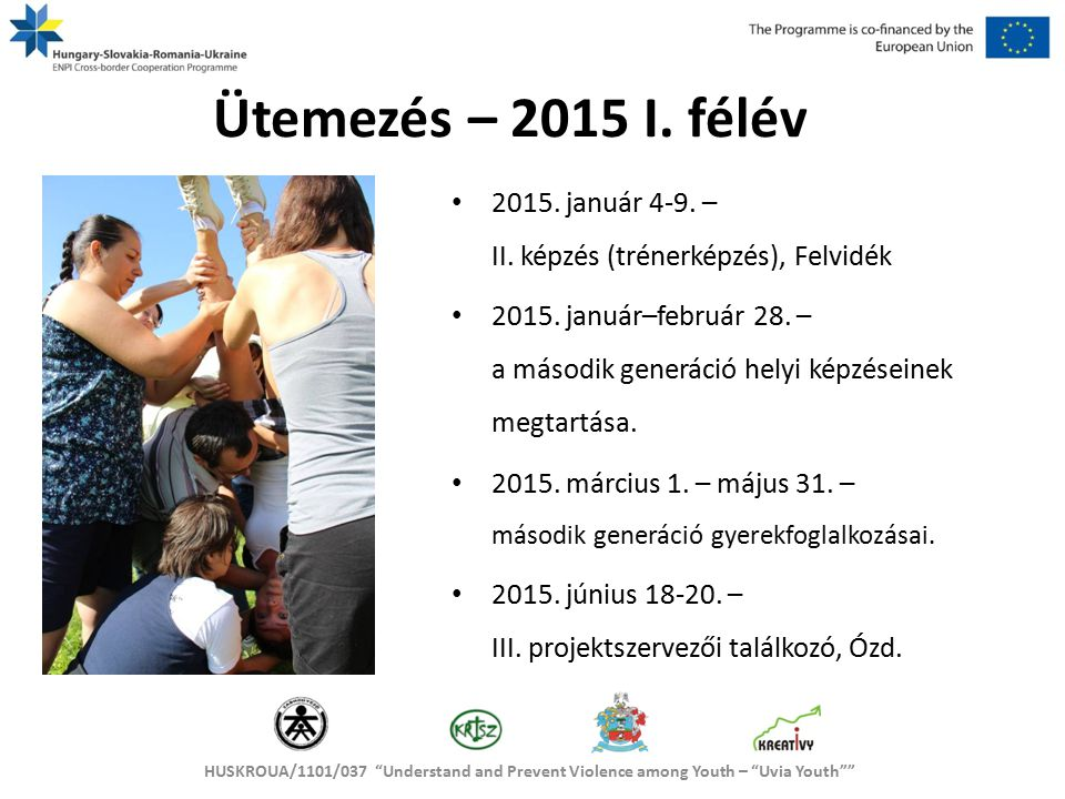 HUSKROUA/1101/037 Understand and Prevent Violence among Youth – Uvia Youth Ütemezés – 2015 II.