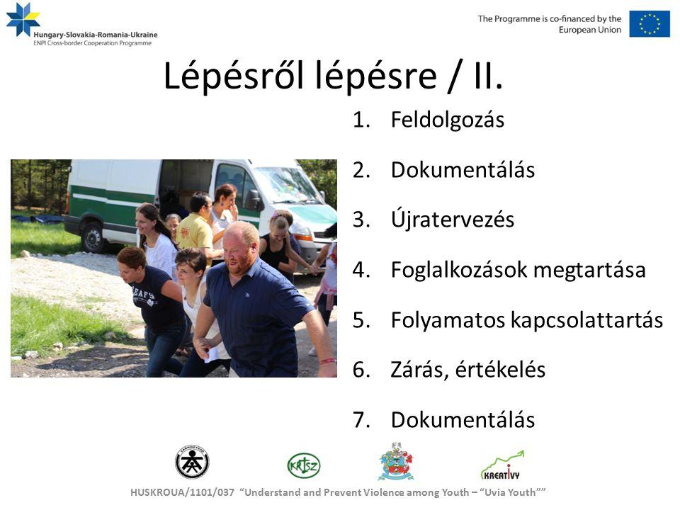 HUSKROUA/1101/037 Understand and Prevent Violence among Youth – Uvia Youth Lépésről lépésre / II.