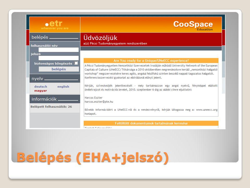 Belépés (EHA+jelszó)
