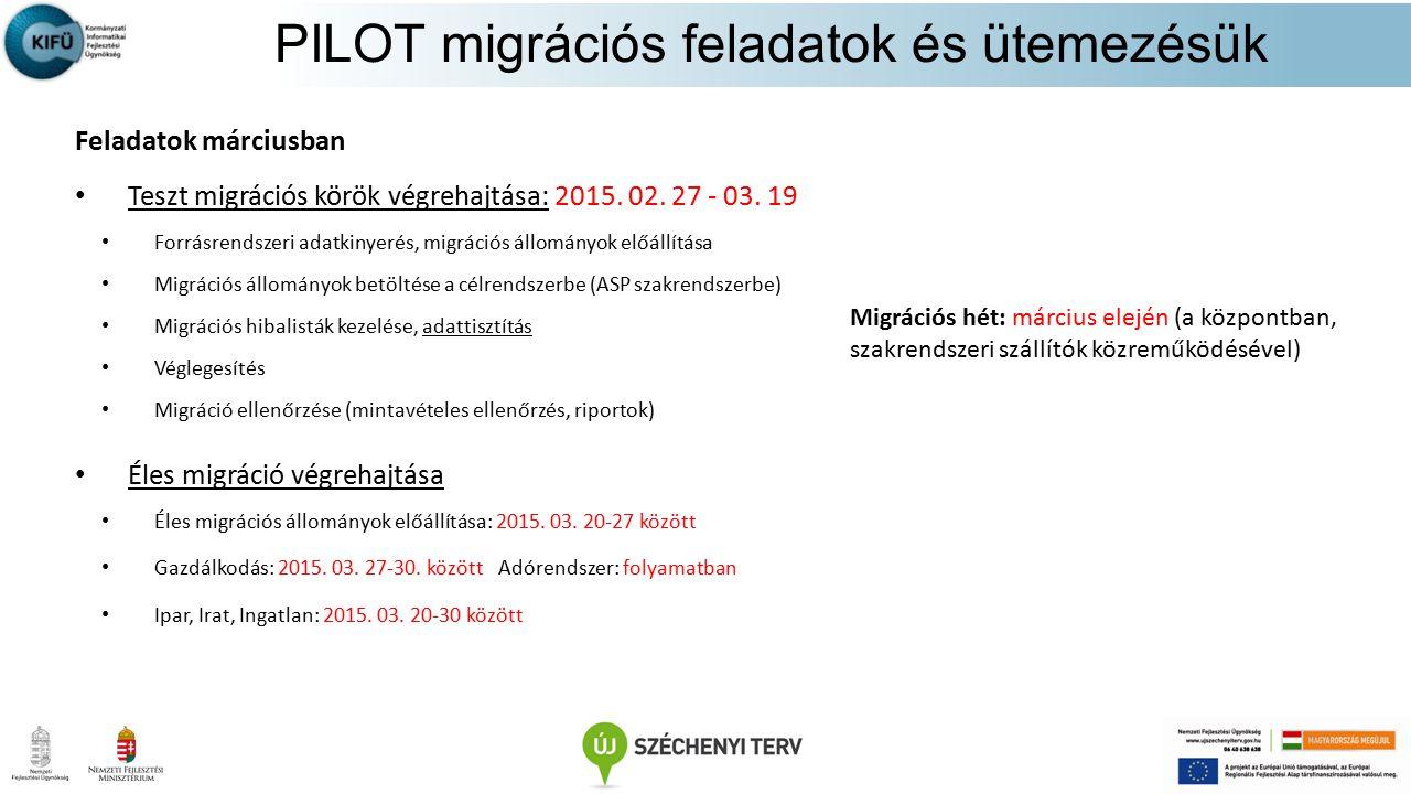 Feladatok márciusban Teszt migrációs körök végrehajtása: 2015. 02. 27 - 03. 19 Forrásrendszeri adatkinyerés, migrációs állományok előállítása Migráció