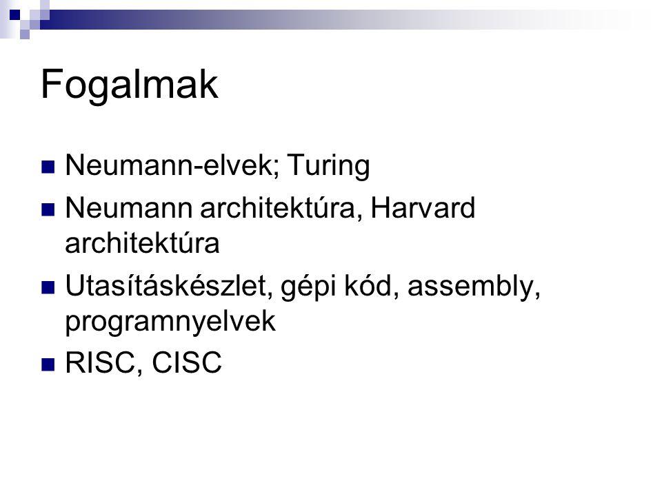 Fogalmak Neumann-elvek; Turing Neumann architektúra, Harvard architektúra Utasításkészlet, gépi kód, assembly, programnyelvek RISC, CISC