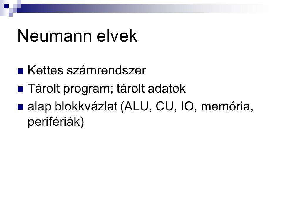 Neumann elvek Kettes számrendszer Tárolt program; tárolt adatok alap blokkvázlat (ALU, CU, IO, memória, perifériák)
