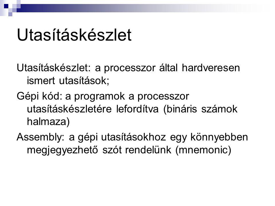 Utasításkészlet Utasításkészlet: a processzor által hardveresen ismert utasítások; Gépi kód: a programok a processzor utasításkészletére lefordítva (b