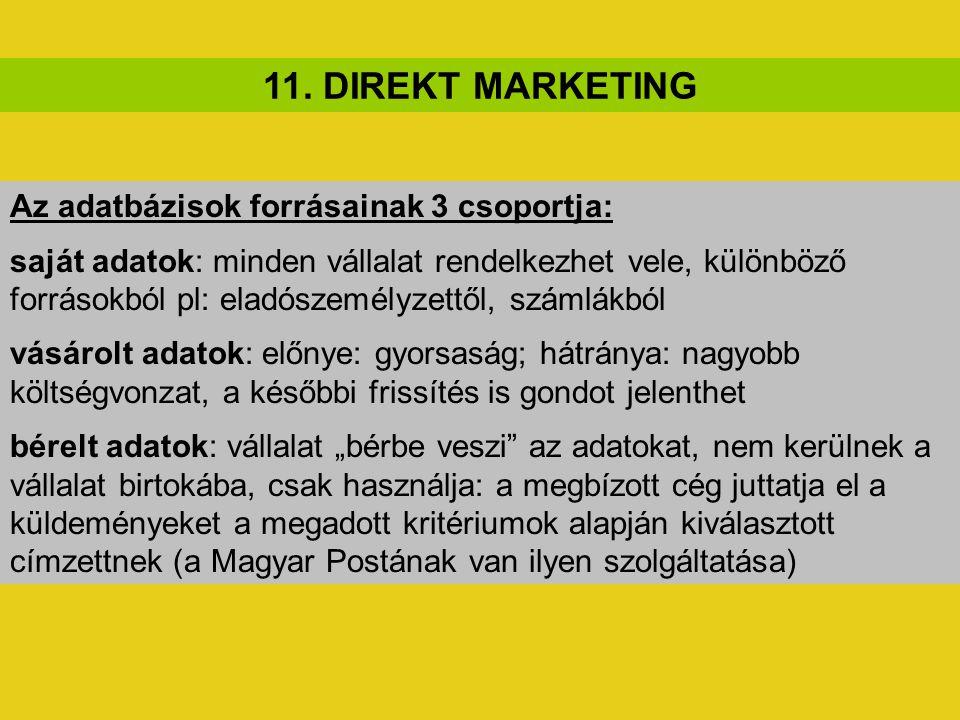 11. DIREKT MARKETING Az adatbázisok forrásainak 3 csoportja: saját adatok: minden vállalat rendelkezhet vele, különböző forrásokból pl: eladószemélyze