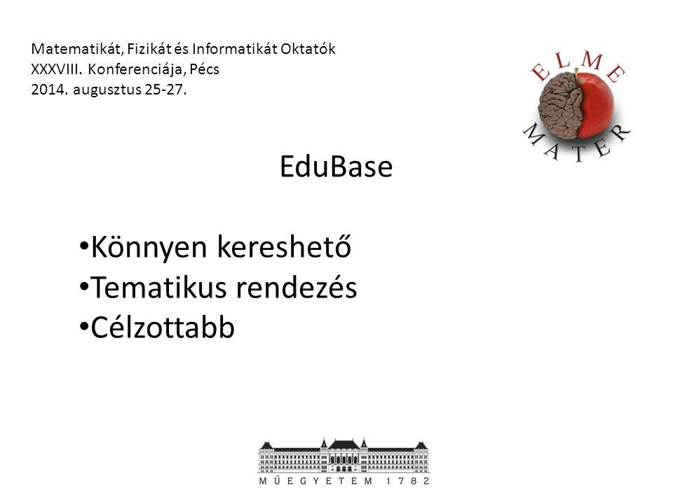 EduBase Könnyen kereshető Tematikus rendezés Célzottabb Matematikát, Fizikát és Informatikát Oktatók XXXVIII.
