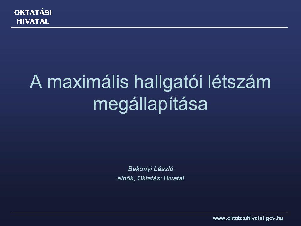 A maximális hallgatói létszám megállapítása Bakonyi László elnök, Oktatási Hivatal