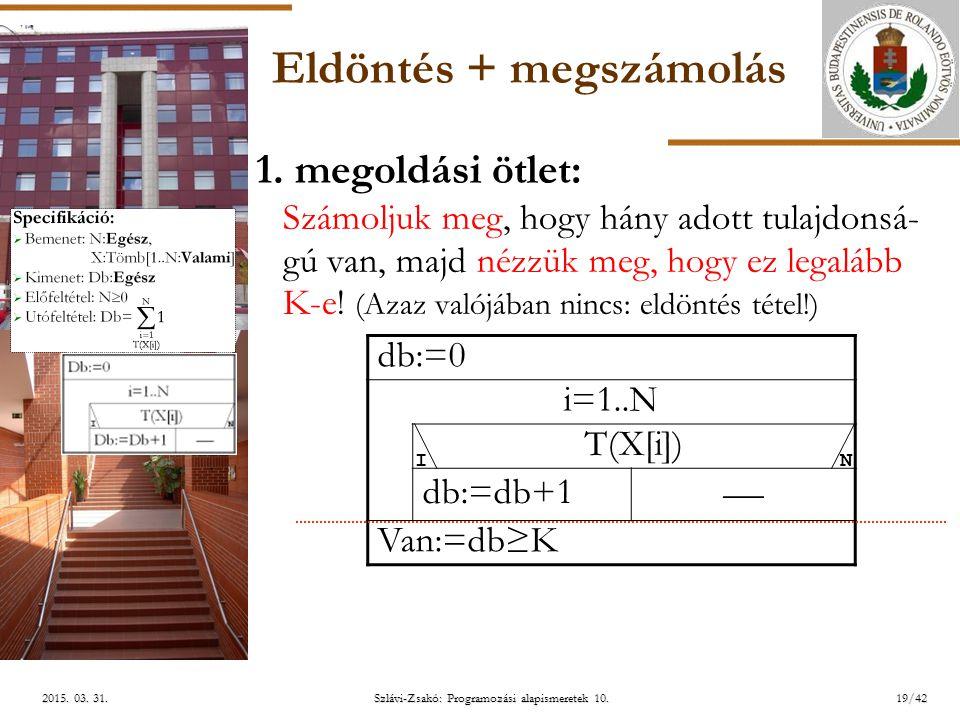 ELTE Szlávi-Zsakó: Programozási alapismeretek 10.19/422015. 03. 31.2015. 03. 31.2015. 03. 31. Eldöntés + megszámolás 1. megoldási ötlet: Számoljuk meg