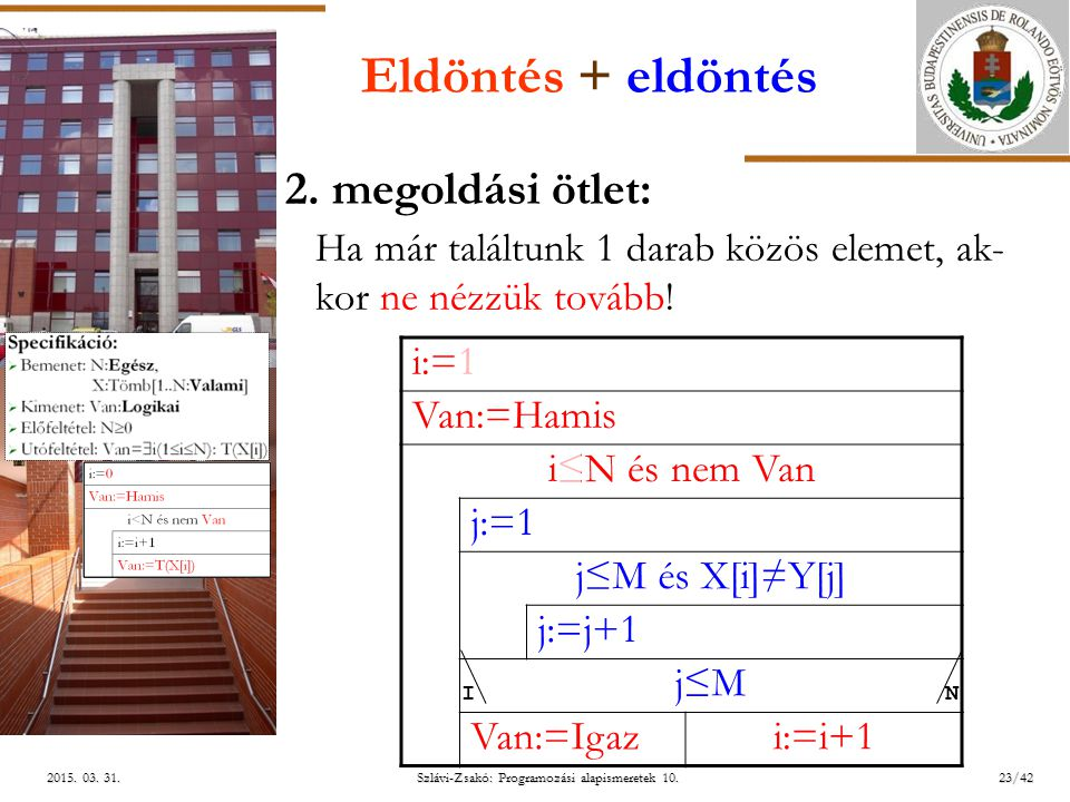 ELTE Szlávi-Zsakó: Programozási alapismeretek 10.23/422015. 03. 31.2015. 03. 31.2015. 03. 31. Eldöntés + eldöntés 2. megoldási ötlet: Ha már találtunk
