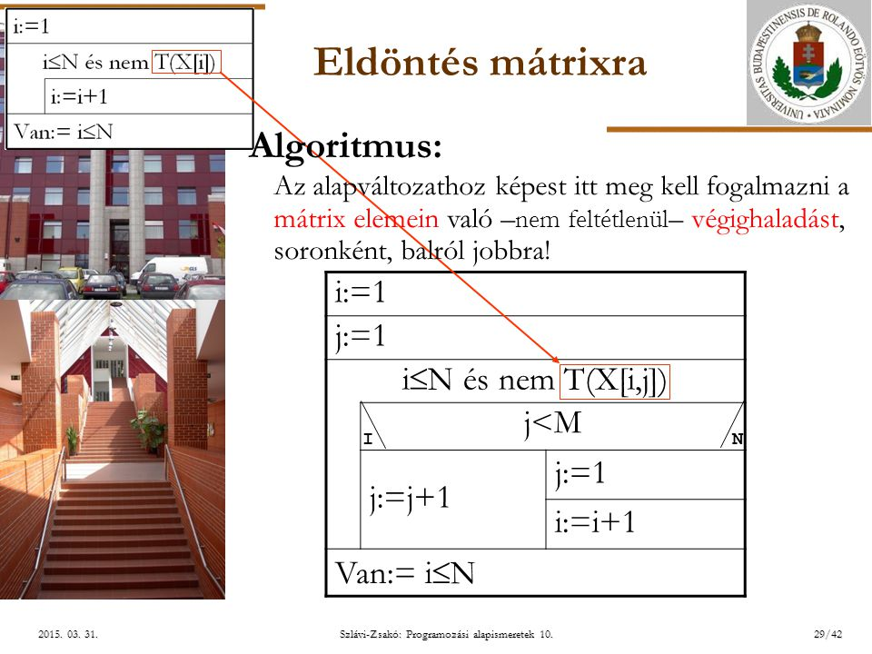ELTE Szlávi-Zsakó: Programozási alapismeretek 10.29/422015. 03. 31.2015. 03. 31.2015. 03. 31. Eldöntés mátrixra i:=1 j:=1 i  N és nem T(X[i,j]) j<Mj<