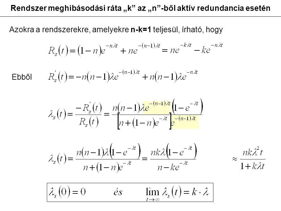 """Rendszer meghibásodási ráta """"k"""" az """"n""""-ből aktív redundancia esetén Azokra a rendszerekre, amelyekre n-k=1 teljesül, írható, hogy Ebből"""