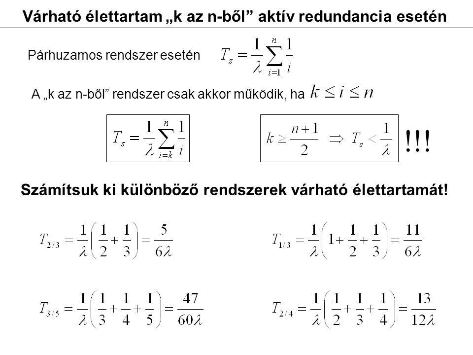 """Várható élettartam """"k az n-ből"""" aktív redundancia esetén Párhuzamos rendszer esetén A """"k az n-ből"""" rendszer csak akkor működik, ha Számítsuk ki különb"""
