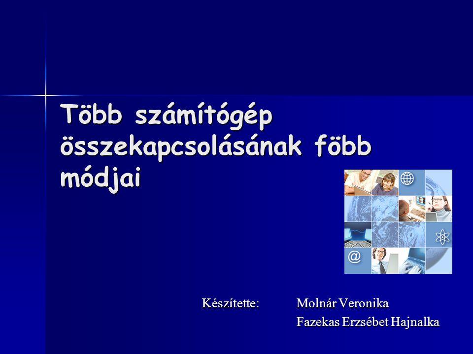 Több számítógép összekapcsolásának föbb módjai Készítette:Molnár Veronika Fazekas Erzsébet Hajnalka