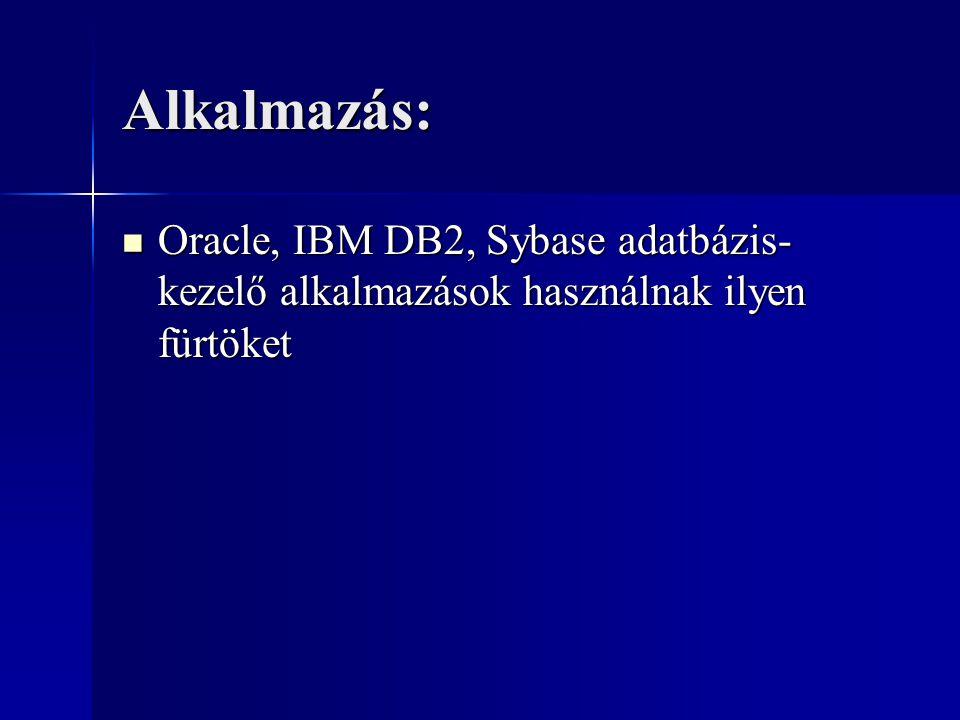 Alkalmazás: Oracle, IBM DB2, Sybase adatbázis- kezelő alkalmazások használnak ilyen fürtöket Oracle, IBM DB2, Sybase adatbázis- kezelő alkalmazások ha