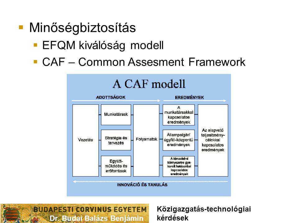  Minőségbiztosítás  EFQM kiválóság modell  CAF – Common Assesment Framework Dr.