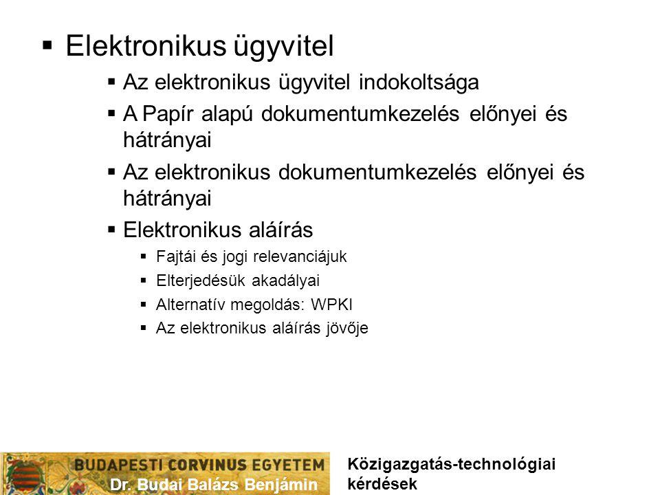  Elektronikus ügyvitel  Az elektronikus ügyvitel indokoltsága  A Papír alapú dokumentumkezelés előnyei és hátrányai  Az elektronikus dokumentumkezelés előnyei és hátrányai  Elektronikus aláírás  Fajtái és jogi relevanciájuk  Elterjedésük akadályai  Alternatív megoldás: WPKI  Az elektronikus aláírás jövője Dr.