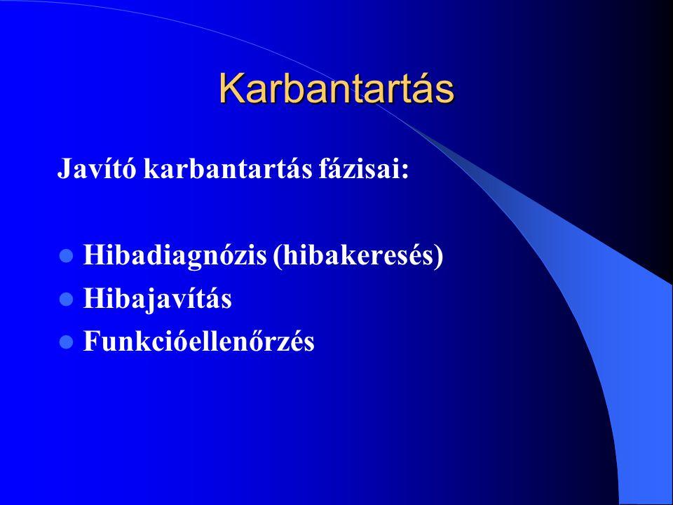 Karbantartás Javító karbantartás fázisai: Hibadiagnózis (hibakeresés) Hibajavítás Funkcióellenőrzés