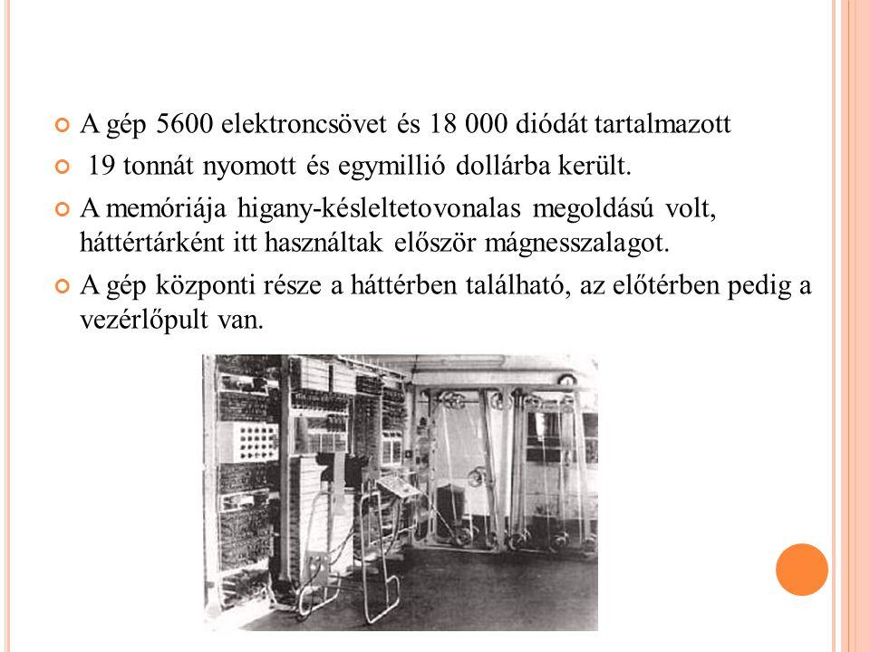 A gép 5600 elektroncsövet és 18 000 diódát tartalmazott 19 tonnát nyomott és egymillió dollárba került.