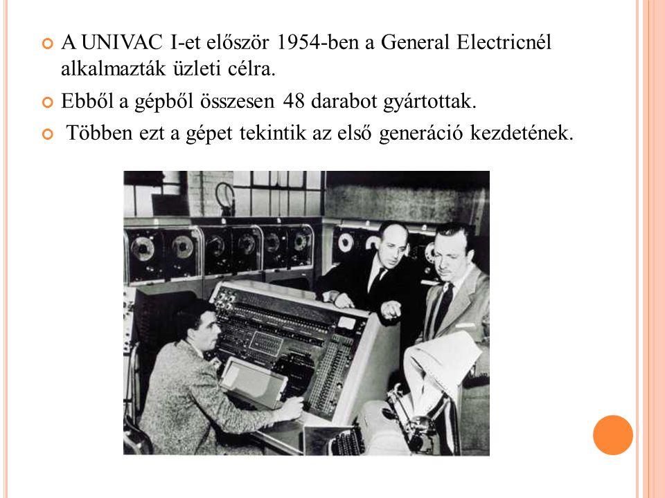 A UNIVAC I-et először 1954-ben a General Electricnél alkalmazták üzleti célra.