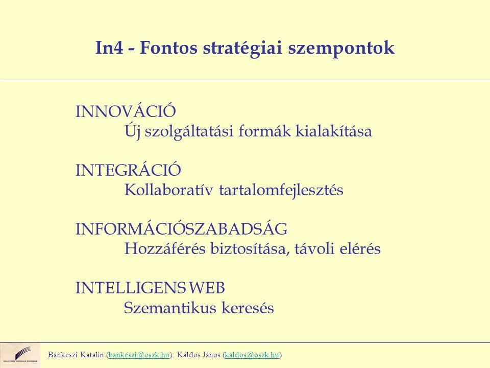 INNOVÁCIÓ Új szolgáltatási formák kialakítása INTEGRÁCIÓ Kollaboratív tartalomfejlesztés INFORMÁCIÓSZABADSÁG Hozzáférés biztosítása, távoli elérés INTELLIGENS WEB Szemantikus keresés In4 - Fontos stratégiai szempontok Bánkeszi Katalin (bankeszi@oszk.hu); Káldos János (kaldos@oszk.hu)bankeszi@oszk.hukaldos@oszk.hu