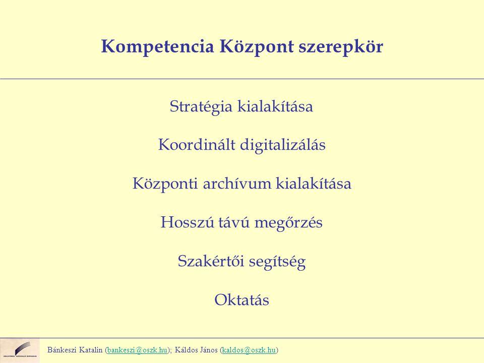 Kompetencia Központ szerepkör Stratégia kialakítása Koordinált digitalizálás Központi archívum kialakítása Hosszú távú megőrzés Szakértői segítség Oktatás Bánkeszi Katalin (bankeszi@oszk.hu); Káldos János (kaldos@oszk.hu)bankeszi@oszk.hukaldos@oszk.hu