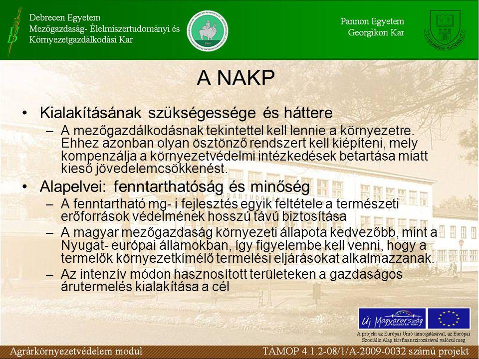 A NAKP területei a környezetkímélő mezőgazdasági termelési módszerek és ezeket megtestesítő rendszerek széleskörű elterjesztése, ezáltal természeti értékeink, a biodiverzitás, a táj, a termőföld és a vízkészletek állapotának megőrzése és javítása; hozzájárulás egy fenntartható mezőgazdasági földhasználati, ésszerű területhasználati rendszer, illetve Magyarország agro-ökológiai adottságainak megfelelő kiegyensúlyozott és stabil földhasználati, termelési struktúra kialakításához; piacképes, kiváló minőségű, értékes termékek termelésének növelése, és ezáltal a mezőgazdasági exportlehetőségek javítása; a vidéki foglalkoztatási és jövedelemszerzési lehetőségek bővítése, a vidéki életminőség javulásához való hozzájárulás, alternatív jövedelemszerzési lehetőségek kialakítása; a turisztikai potenciál fejlesztése, kihasználása elsősorban a vidék, a táj képének javítása, az ökoturizmus, a falusi turizmus feltételeinek javulása révén; hozzájárulás egyéb vidékfejlesztési intézkedések sikeréhez, a vidéki népesség, a gazdálkodók termelési-környezeti ismeretinek fejlődéséhez, szemléletváltás elősegítéséhez