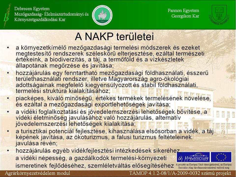 A NAKP irányelvei Horizontális (országos) programok –Támogatást nyújtanak különféle földhasználati ágakban a környezetbarát termelési és gazdasági eljárások elindításához.