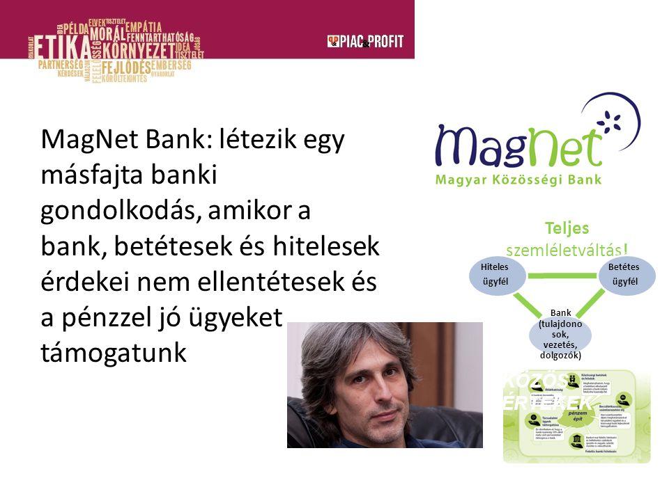 MagNet Bank: létezik egy másfajta banki gondolkodás, amikor a bank, betétesek és hitelesek érdekei nem ellentétesek és a pénzzel jó ügyeket támogatunk Bank (tulajdono sok, vezetés, dolgozók) Közösségi vagy újbanki modell Teljes szemléletváltás.