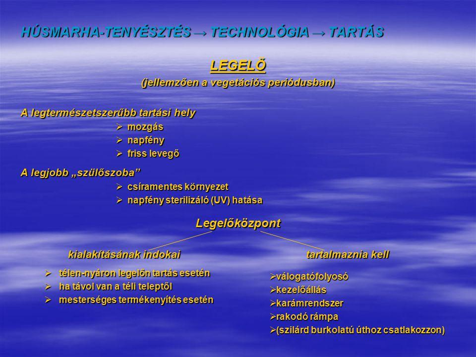 HÚSMARHA-TENYÉSZTÉS → TECHNOLÓGIA → TARTÁS LEGELŐ (jellemzően a vegetációs periódusban) A legtermészetszerűbb tartási hely  mozgás  napfény  friss